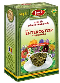 Imagine cu cutia ceaiului antidiareic ENTEROSTOP. Clic pentru detalii si cumparare online