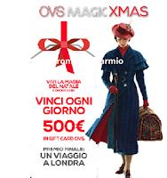 Logo ''Magic XMas OVS'': vinci 30 Gift Card da 500€ e un favoloso soggiorno a Londra