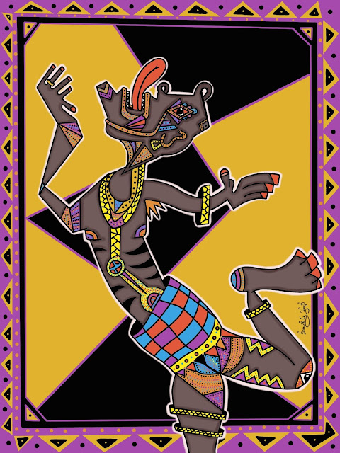 a tribal art with a dancing person wearing body paint
