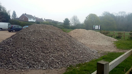 Image: Two large mounds of hardcore at the southern end of Gobions car park Image by North Mymms News released under Creative Commons BY-NC-SA 4.0