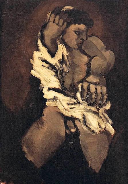 Hemdanziehender Knabe = Boy Putting on Shirt (1924) Helmut Kolle (German, 1899-1931) Oil on canvas 92 x 65 cm.