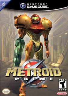 Portada del disco de Metroid Prime para GameCube, 2002. Muestra a Sumus otra vez con color naranja y de pie