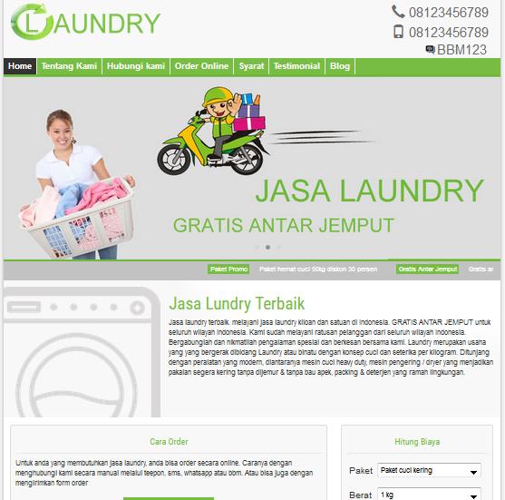 Jasa Pembuatan Website Laundry, Setrika baju, Cuci