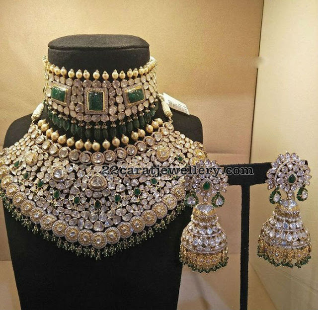 Grandeur Pachi Necklace and Jhumkas
