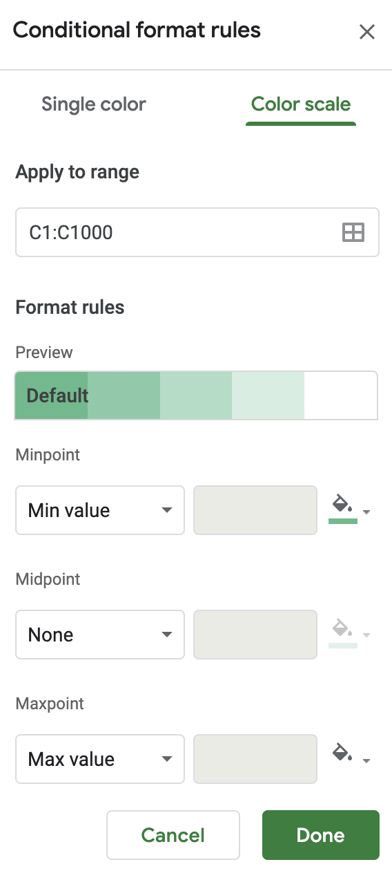 Color scale conditional formatting with Google Sheets