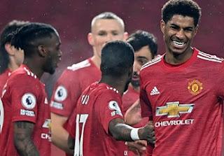 Wan-Bissaka, Rashford, Bednarek, Cavani, Martial twice, goals, scores, SouSouthampton, best, stats, record, premier league.