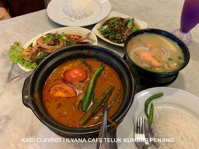 kari claypot, ilyana cafe, teluk kumbar, food hunter penang, kedai makan berdekatan lexis suites penang, mee udang,