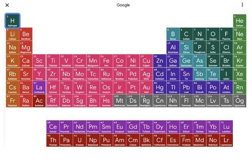 Google has added an interactive search periodic table