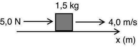 Em um deslocamento de 6,0 m do bloco, analise as afirmações abaixo e assinale a CORRETA