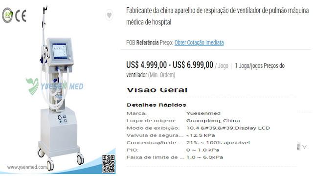 O Coronavírus está aquecendo a corrupção: MA comprou respiradores por R$ 50 mil cada. O CE por R$ 120 mil cada