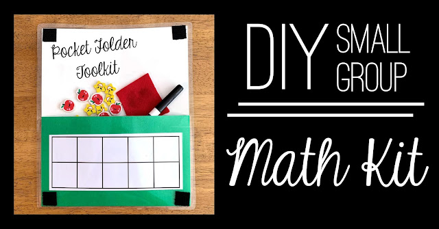 Laminated toolkit made from a pocket folder is perfect for small group math work