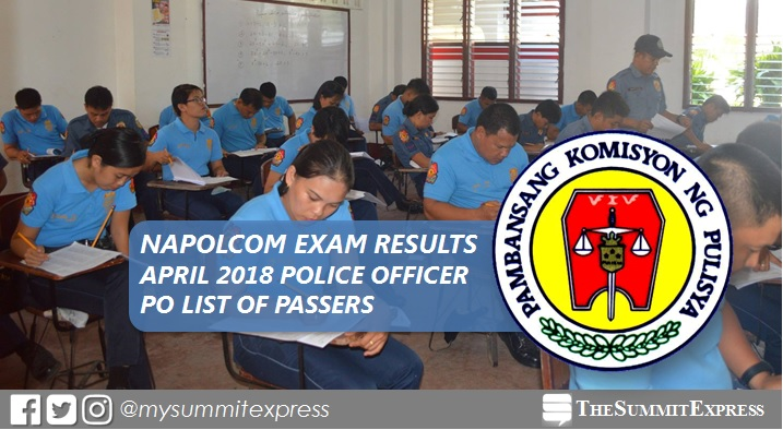 Police Officer (PO) Passers: April 2018 NAPOLCOM exam results