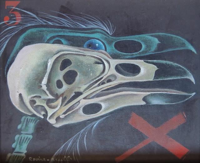 Josep Maria Rovira Brull Pintura surrealista retrato pajaro calavera