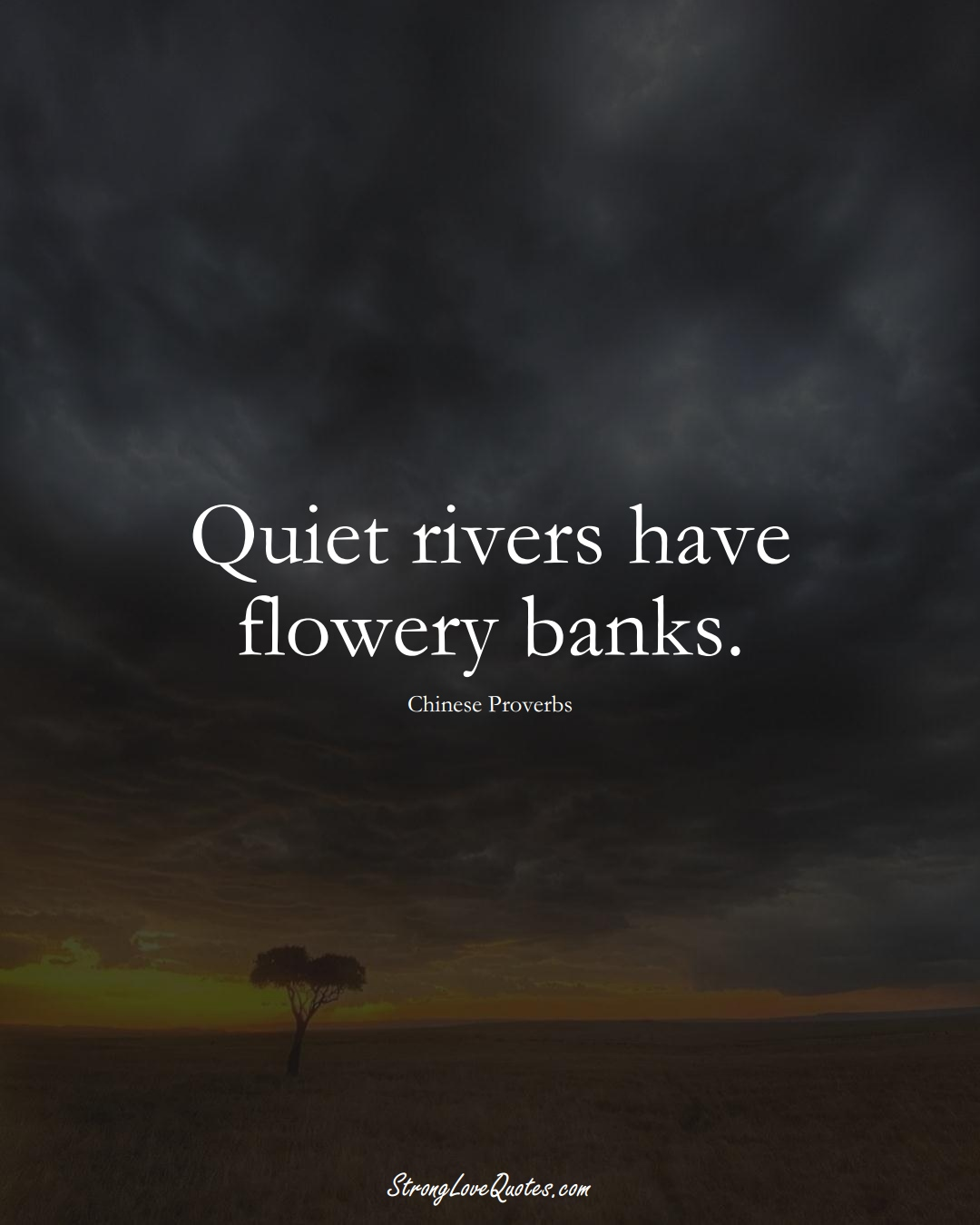 Quiet rivers have flowery banks. (Chinese Sayings);  #AsianSayings