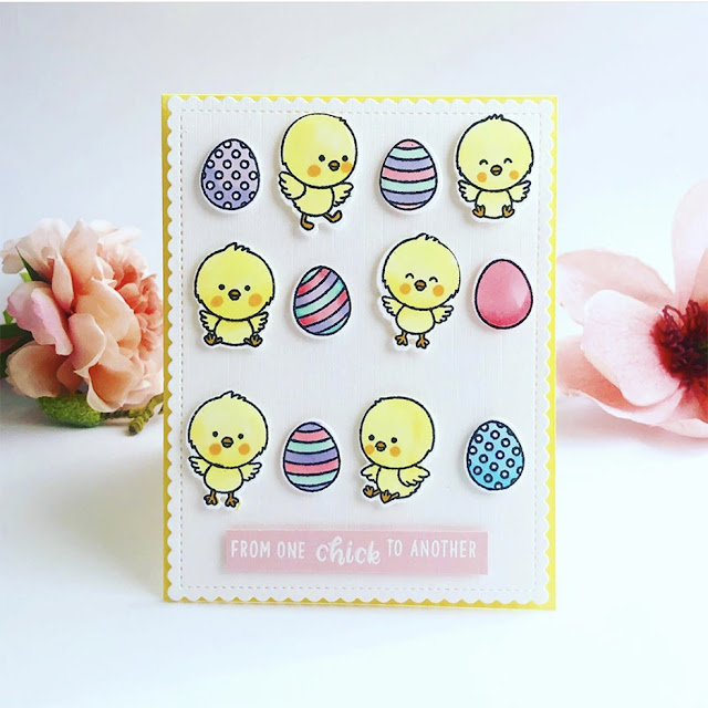 Sunny Studio Stamps: Chickie Baby & Frilly Frames Stripes Dies Easter card by Vicki Poulton