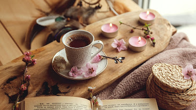 Free wallpaper cup, book, flowers, cocoa, drink, candles