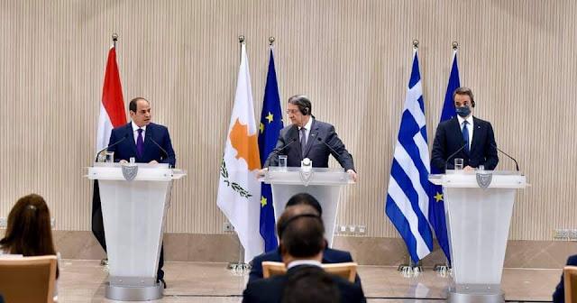 كلمة الرئيس السيسي في القمة الثلاثية المصرية القبرصية اليونانية