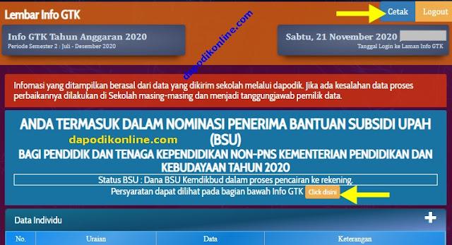 Cek Nomor SK BSU dan  Cetak Lembar Info GTK !