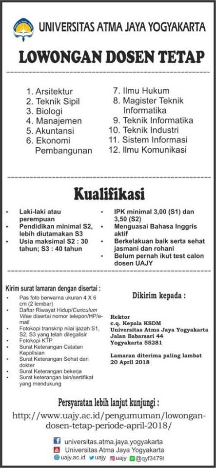 Lowongan 12 Prodi Universitas Atma Jaya Yogyakarta (UAJY)