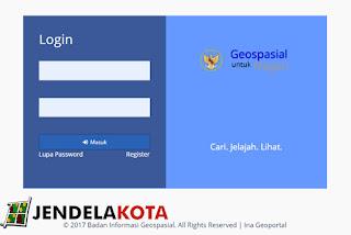 halaman login ina-geoportal
