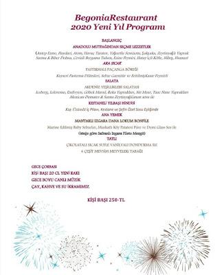 Begonia Restaurant Antalya 2020 Yılbaşı Programı Menüsü