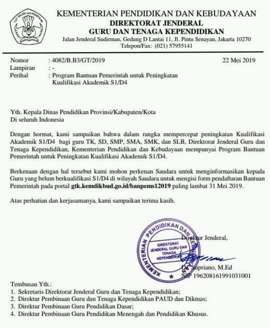 bantuan pemerintah bagi guru untuk studi lanjut s1