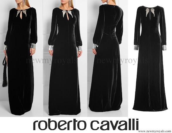 Tatiana Santo Domingo wore ROBERTO CAVALLI Embellished velvet gown
