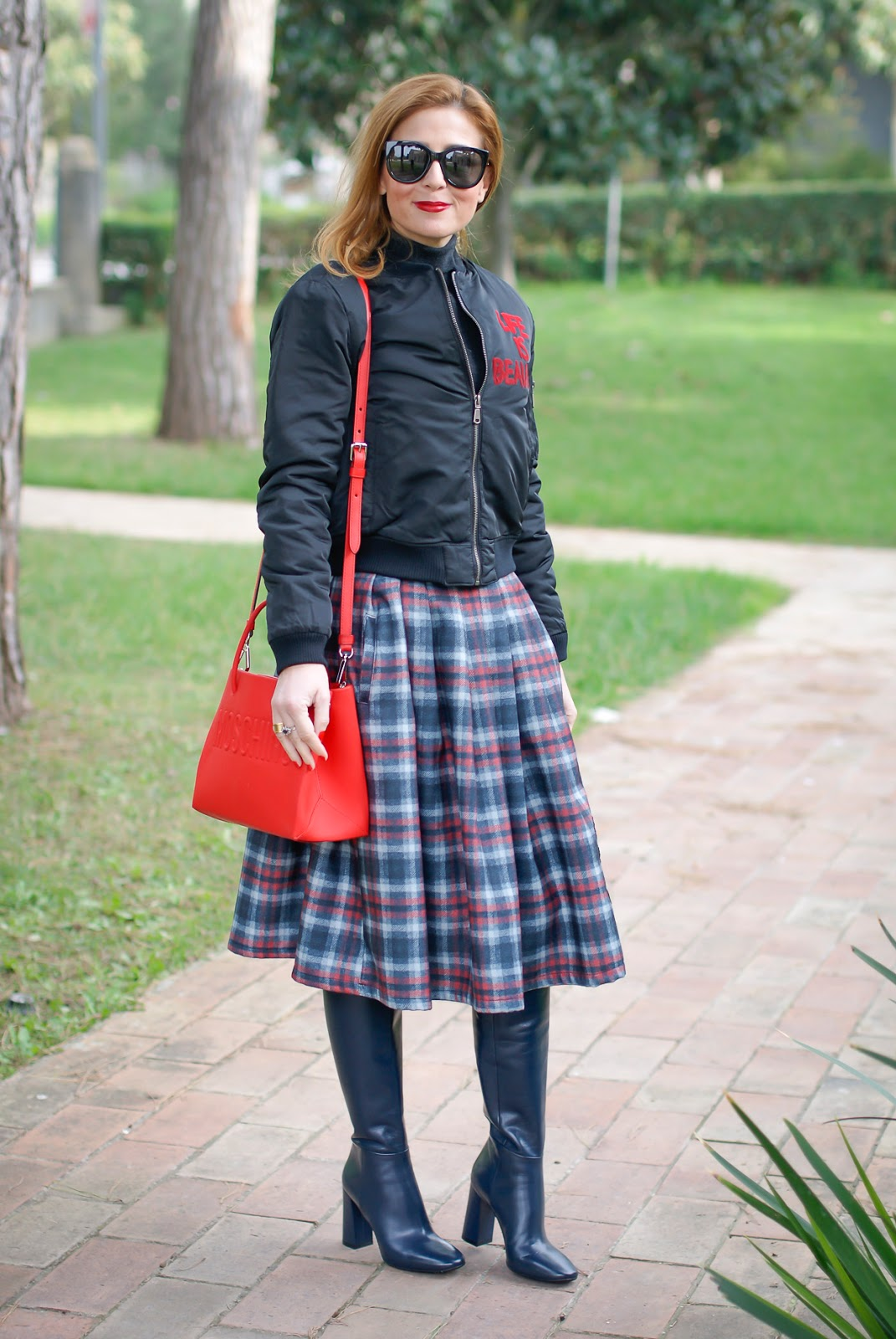 Checked embroidered skirt and bomber jacket on Fashion and Cookies fashion blog, fashion blogger style