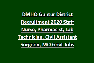 DMHO Guntur District Recruitment 2020 Staff Nurse, Pharmacist, Lab Technician, Civil Assistant Surgeon, MO Govt Jobs