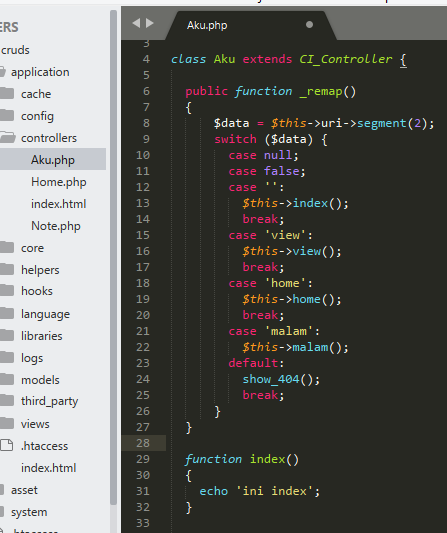 Tutorial menggunakan remap CodeIgniter
