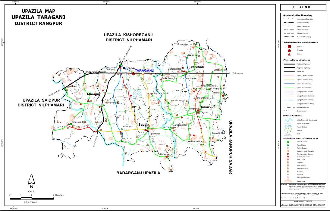 Taraganj Upazila Map Rangpur District Bangladesh