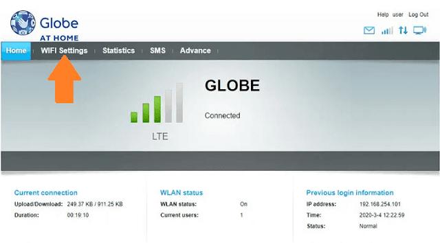 Log in to Globe at Home dashboard