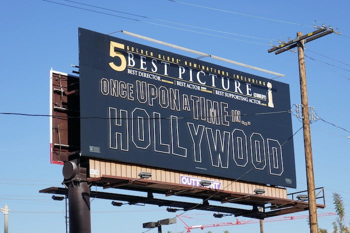 Once Upon Time Hollywood Golden Globe neon billboard