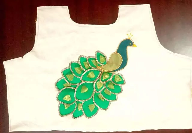 How to Make Peacock Design in Blouse,  maggam work  blouse designs back side