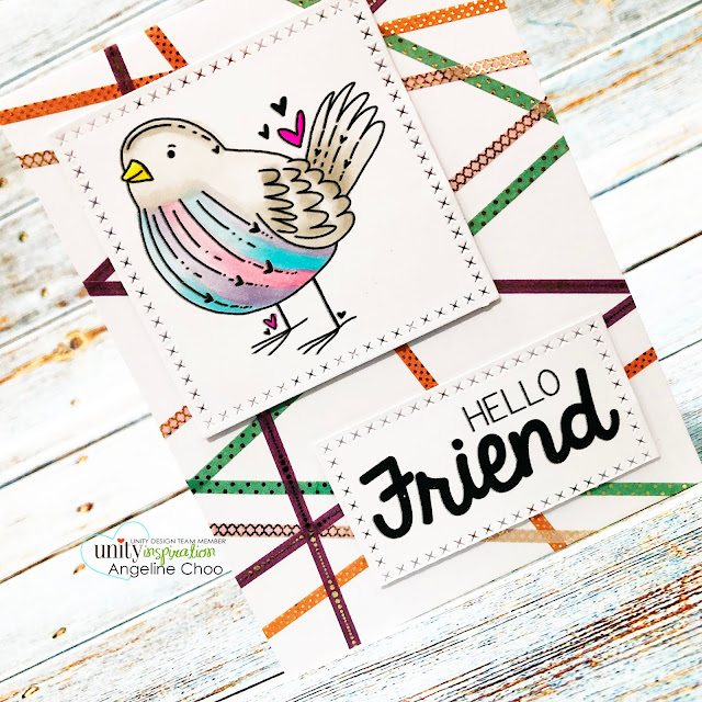 ScrappyScrappy: Happy June with Unity Stamp - Bird's the word #scrappyscrappy #unitystampco #card #cardmaking #youtube #quicktipvideo #stamping #copicmarkers #unitysentimentkit #washitapebackground #washitape #winkofstella #clearglitter #katscrappiness #crossstitcheddie