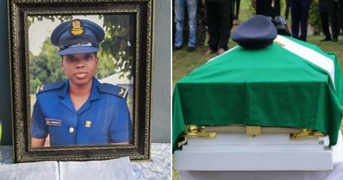 Nigeria's First Female Combat Helicopter Pilot, Tolulope Arotile Finally Laid To Rest Amid Tears
