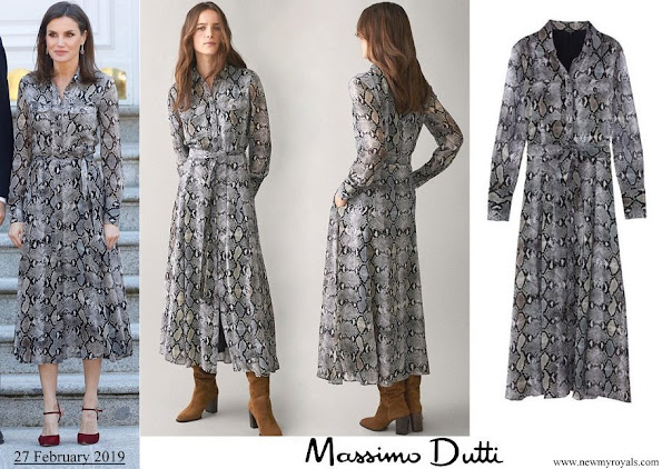 Queen Letizia wore Massimo Dutti snakeskin print dress