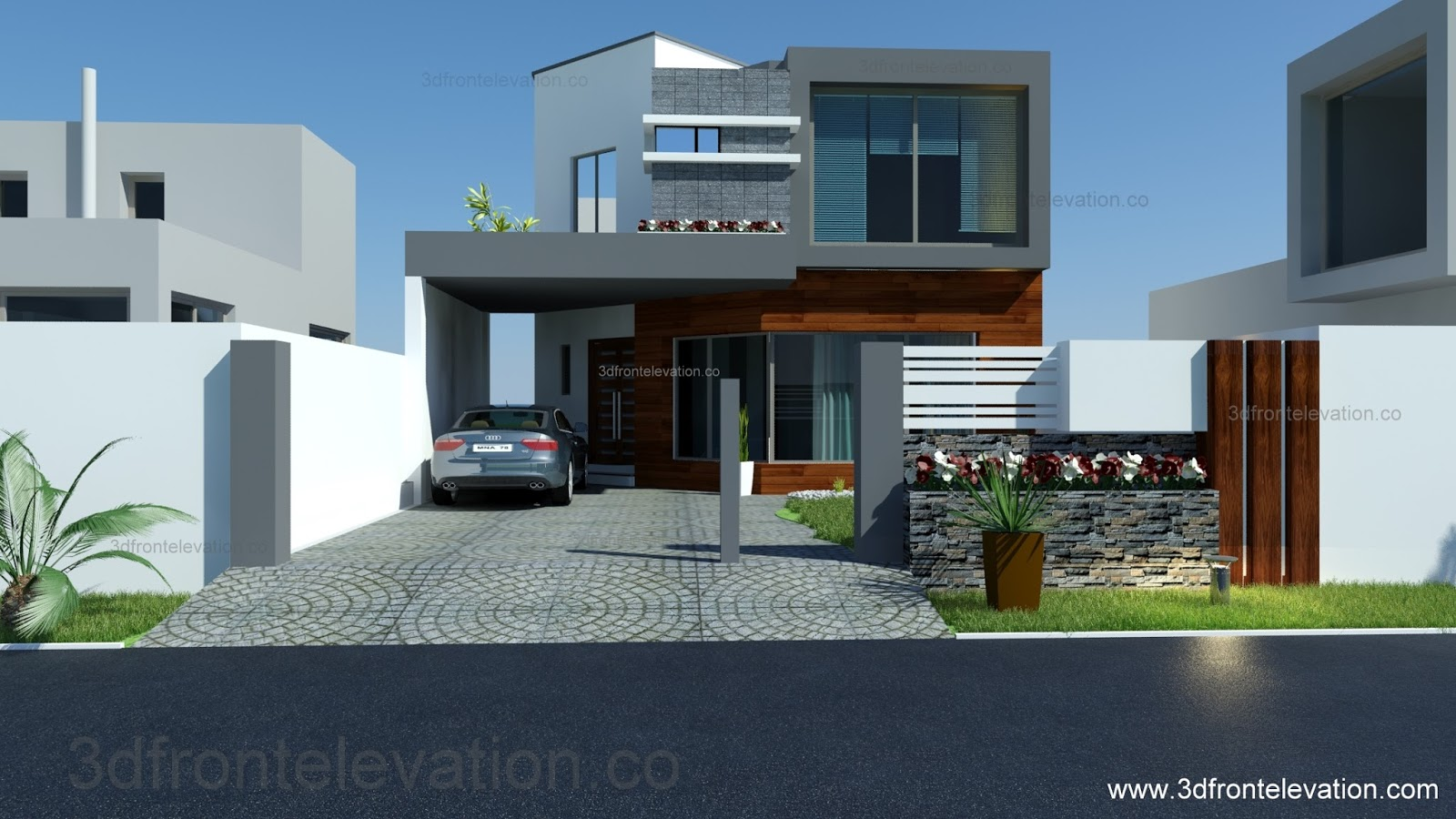 3D Front Elevation.com: 8 Marla House Plan-Layout-Elevation