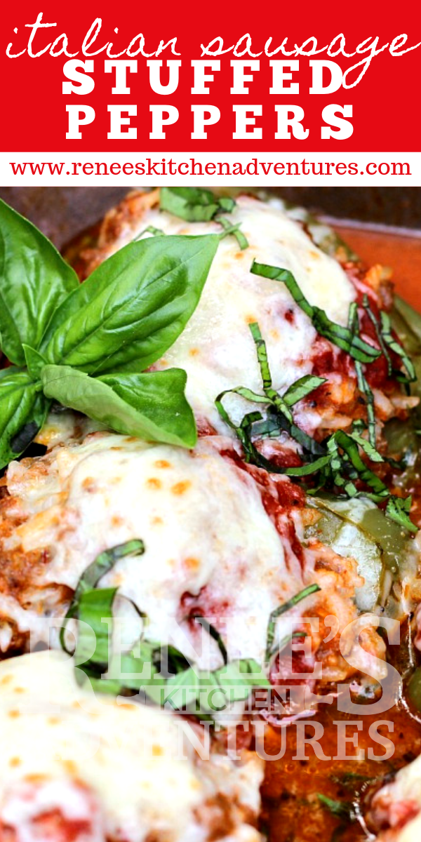 Italian Sausage Stuffed Peppers with Pasta Sauce by Renee's Kitchen Adventures pin for Pinterest close up with text