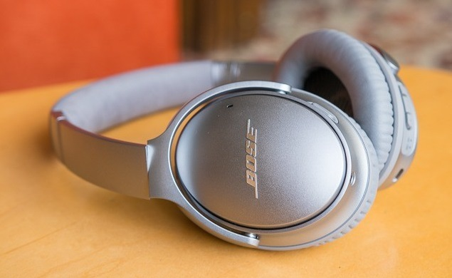 Close-up of Bose QuietComfort 35 Series II Wireless Noise Canceling Speakers.