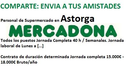 Lanzadera de Empleo Virtual León, Oferta Mercadona Astorga