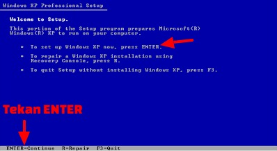 instal windows xp di komputer