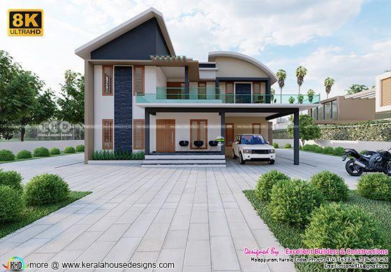 Modern house architetcure 8k rendering