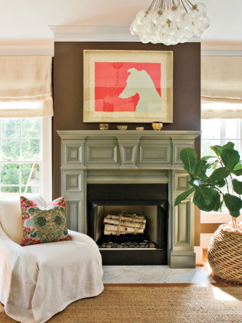 Coastal bright living room with a pop of color in art