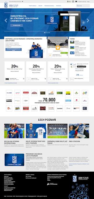 webová stránka Cashback Programu klubu Lech Poznan