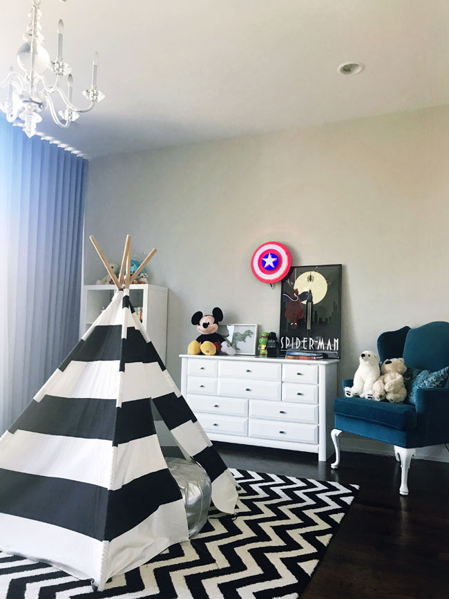 Best Boy's Bedroom, Black And White Boy's Bedroom, Super Hero Bedroom
