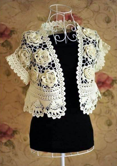 Patrón 1073 Chaleco de Flores a Crochet