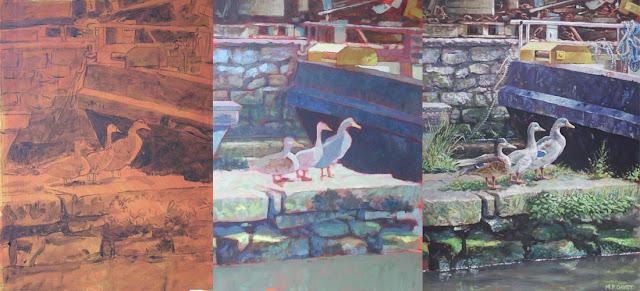 M P Davey artist work in progress Mallard ducks