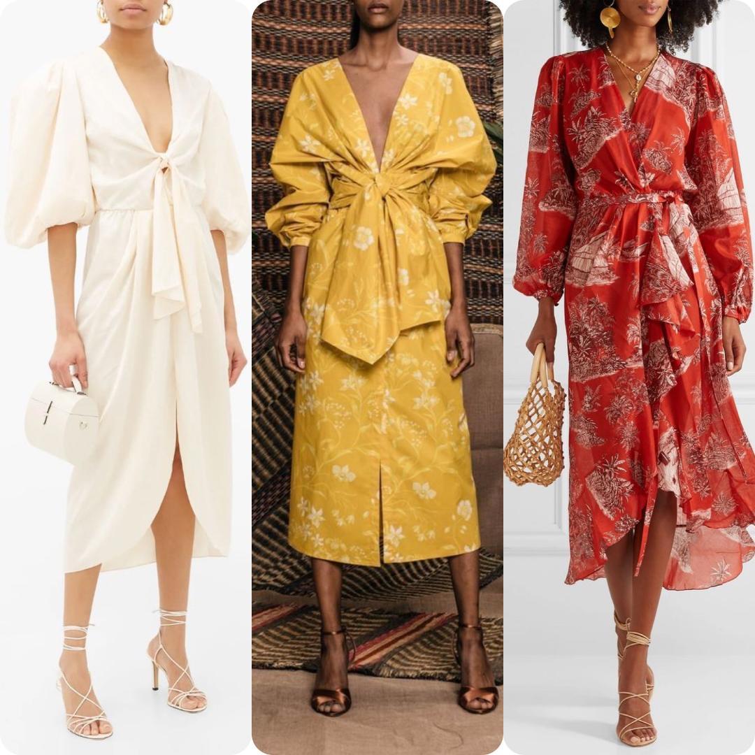 Johanna Ortiz Tie-Front Midi Dresses