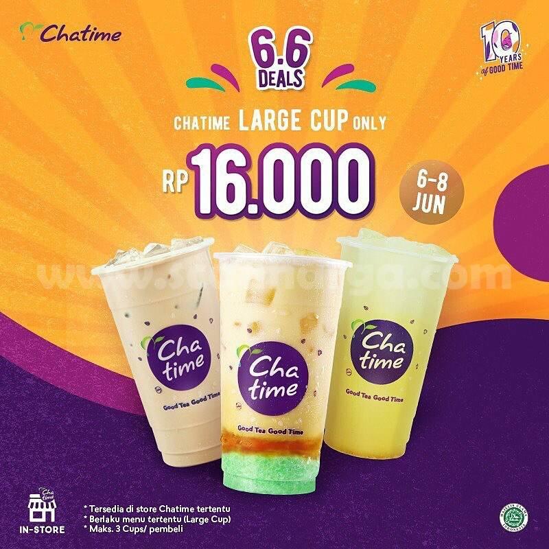 Promo CHATIME 6.6 DEALS - Menu Chatime Popcan & Large Cup Harga hanya Rp 16.000 1